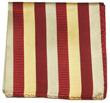 Red and Gold Striped Silk Pocket Square Paul Malone  - Paul Malone.com