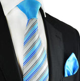 Grey and Blue Striped Contrast Knot Tie Set by Paul Malone Paul Malone Ties - Paul Malone.com