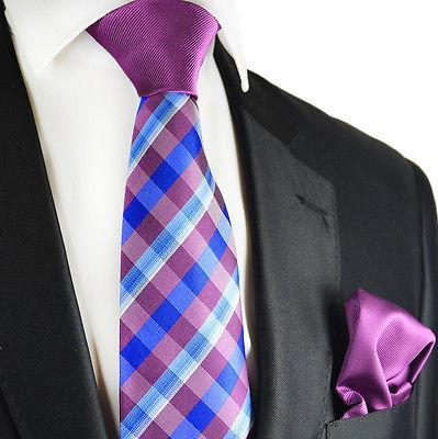 Purple and Blue Contrast Knot Tie Set by Paul Malone Paul Malone Ties - Paul Malone.com