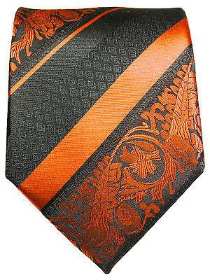 Fiery Orange and Black Silk Tie and Pocket Square Paul Malone Ties - Paul Malone.com