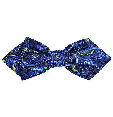 Royal Blue and Yellow Paisley Silk Bow Tie by Paul Malone Paul Malone Ties - Paul Malone.com