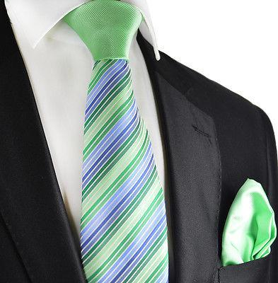 Green and Blue Striped Contrast Knot Tie Set by Paul Malone Paul Malone Ties - Paul Malone.com