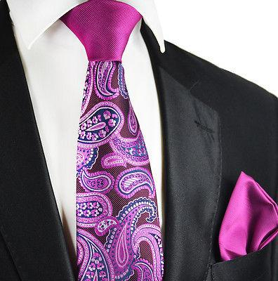 Purple Paisley Contrast Knot Tie Set by Paul Malone Paul Malone Ties - Paul Malone.com