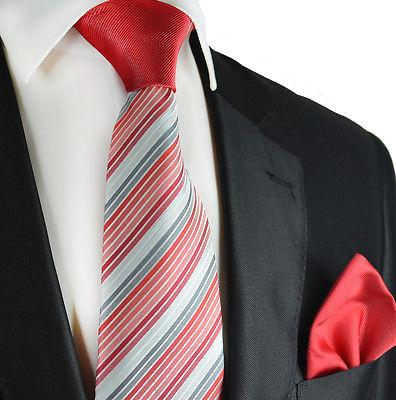 Red Striped Contrast Knot Tie Set by Paul Malone Paul Malone Ties - Paul Malone.com