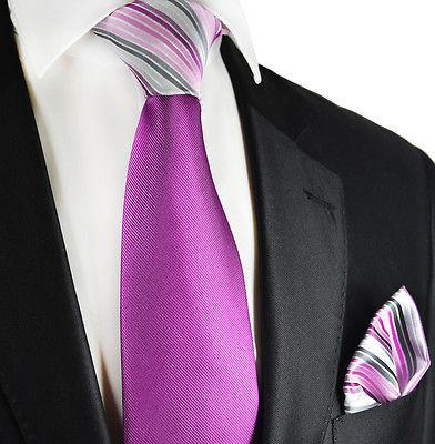 Purple Contrast Knot Tie Set by Paul Malone Paul Malone Ties - Paul Malone.com