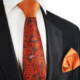 Amberglow Paisley Contrast Knot Tie Set by Paul Malone Ties Paul Malone