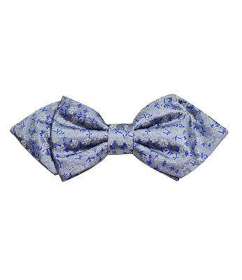 Silver and Blue Silk Bow Tie by Paul Malone Paul Malone Ties - Paul Malone.com