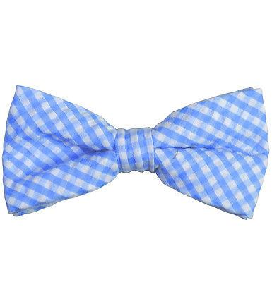 Blue Gingham Cotton Bow Tie by Paul Malone