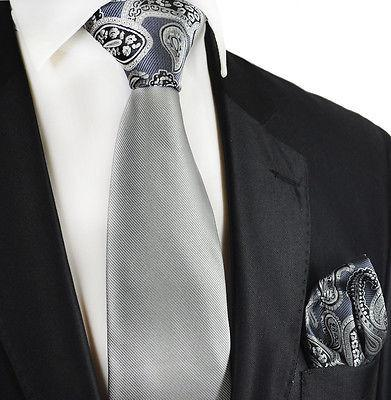Grey Contrast Knot Tie Set by Paul Malone Paul Malone Ties - Paul Malone.com