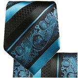 Turquoise and Black Silk Tie and Pocket Square Paul Malone Ties - Paul Malone.com