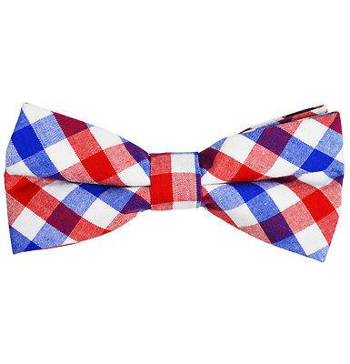 Red, White and Blue Plaid Cotton Bow Tie by Paul Malone