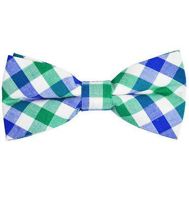Blue, Green and White Plaid Cotton Bow Tie by Paul Malone Paul Malone Bow Ties - Paul Malone.com