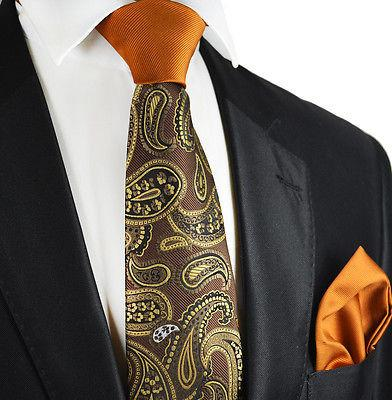 White Paisley Silk Tie Set by Paul Malone