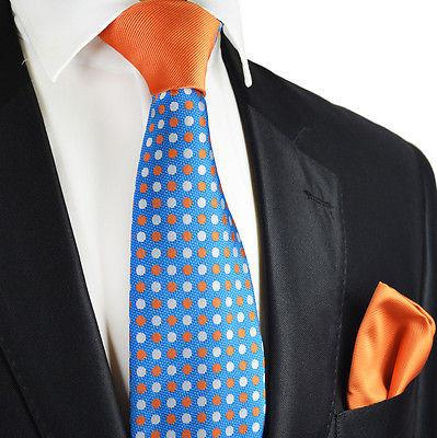 Blue and Orange Contrast Knot Tie Set by Paul Malone Paul Malone Ties - Paul Malone.com