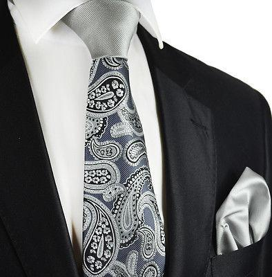 Grey Paisley Contrast Knot Tie Set by Paul Malone Paul Malone Ties - Paul Malone.com