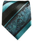 Pacific Blue and Black Silk Tie and Pocket Square Ties Paul Malone
