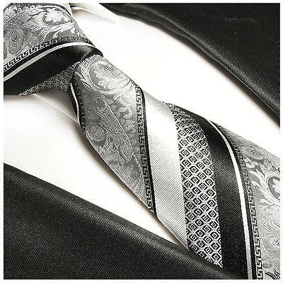 Silver and Black Silk Tie and Pocket Square Paul Malone Ties - Paul Malone.com
