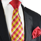 Red and Yellow Contrast Knot Tie Set by Paul Malone Paul Malone Ties - Paul Malone.com
