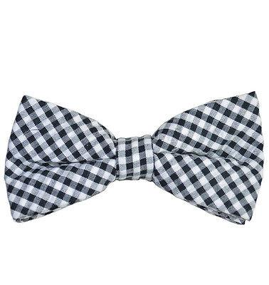Black and White Gingham Cotton Bow Tie by Paul Malone