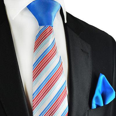 Blue and Red Striped Contrast Knot Tie Set by Paul Malone Paul Malone Ties - Paul Malone.com