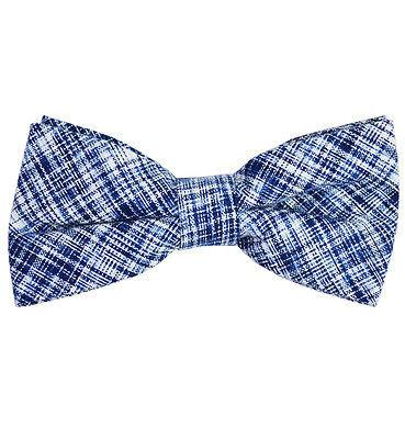 Blue Cotton/Linen Bow Tie by Paul Malone Paul Malone Bow Ties - Paul Malone.com