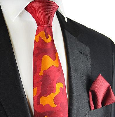 Fire Red Contrast Knot Tie Set by Paul Malone Paul Malone Ties - Paul Malone.com