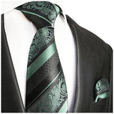 Mint and Black Silk Tie and Pocket Square Paul Malone Ties - Paul Malone.com