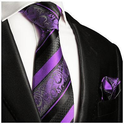 Purple and Black Silk Tie and Pocket Square