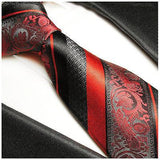 Red and Black Silk Tie and Pocket Square Paul Malone Ties - Paul Malone.com