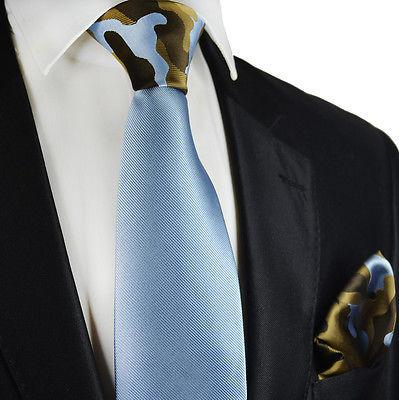 Solid Blue Contrast Knot Tie Set by Paul Malone Paul Malone Ties - Paul Malone.com