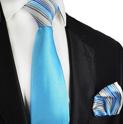 Sky Blue Contrast Knot Tie Set by Paul Malone Paul Malone Ties - Paul Malone.com