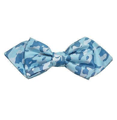 Blue Camouflage Silk Bow Tie by Paul Malone