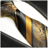 Gold and Black Silk Tie and Pocket Square Ties Paul Malone