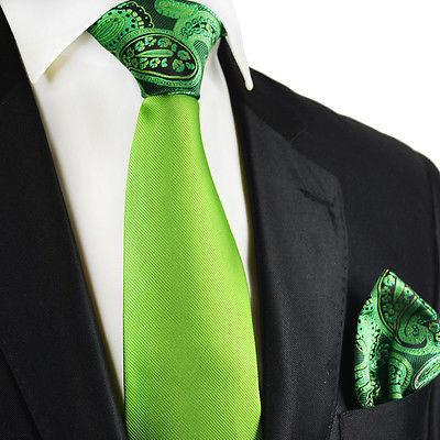 Green Contrast Knot Tie Set by Paul Malone Paul Malone Ties - Paul Malone.com