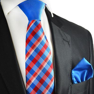 Blue and Red Contrast Knot Tie Set by Paul Malone Paul Malone Ties - Paul Malone.com