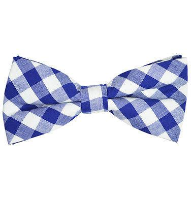Blue and White Plaid Cotton Bow Tie by Paul Malone Paul Malone Bow Ties - Paul Malone.com
