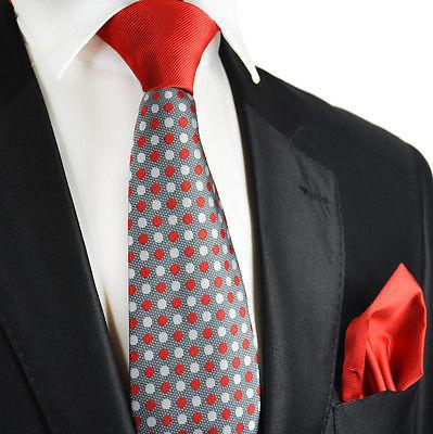 Red and Grey Contrast Knot Tie Set by Paul Malone Paul Malone Ties - Paul Malone.com