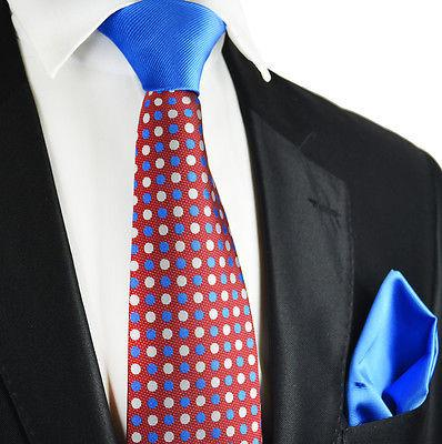 Burgundy and Blue Contrast Knot Tie Set by Paul Malone Paul Malone Ties - Paul Malone.com