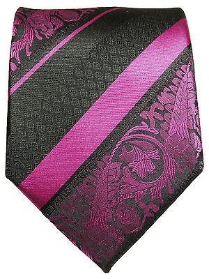 Pink and Black Silk Tie and Pocket Square Ties Paul Malone