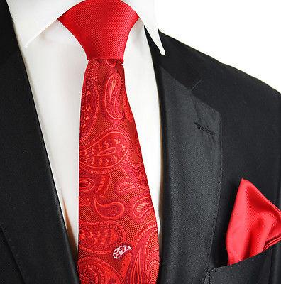 Red Paisley Contrast Knot Tie Set by Paul Malone Paul Malone Ties - Paul Malone.com
