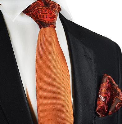 Orange Contrast Knot Tie Set by Paul Malone Paul Malone Ties - Paul Malone.com