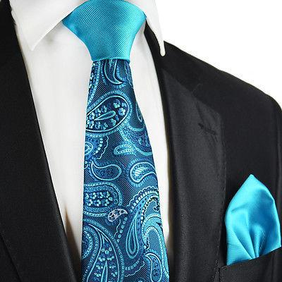 Turquoise Paisley Contrast Knot Tie Set by Paul Malone Paul Malone Ties - Paul Malone.com