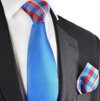 Blue Contrast Knot Tie Set by Paul Malone Paul Malone Ties - Paul Malone.com