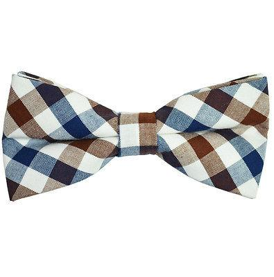 Navy, Brown and White Plaid Cotton Bow Tie by Paul Malone Paul Malone Bow Ties - Paul Malone.com