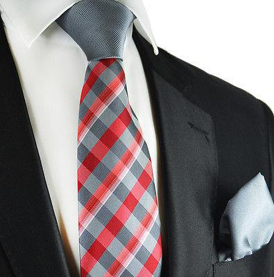 Grey and Red Contrast Knot Tie Set by Paul Malone Paul Malone Ties - Paul Malone.com
