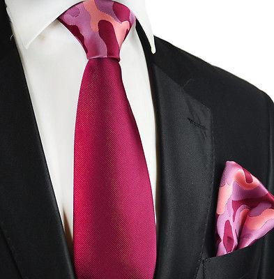 Solid Plum Contrast Knot Tie Set by Paul Malone Paul Malone Ties - Paul Malone.com