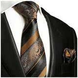 Bronze and Black Silk Tie and Pocket Square Paul Malone Ties - Paul Malone.com