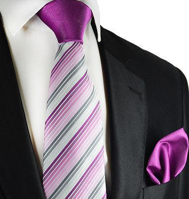 Purple Striped Contrast Knot Tie Set by Paul Malone Paul Malone Ties - Paul Malone.com