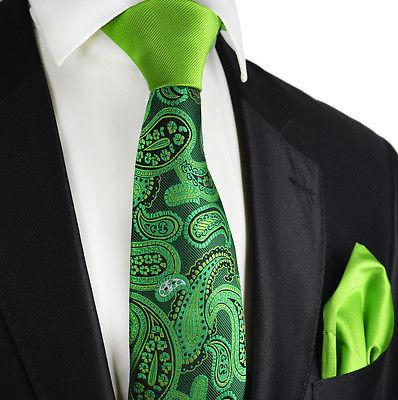 Green Paisley Contrast Knot Tie Set by Paul Malone Paul Malone Ties - Paul Malone.com