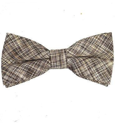 Brown Cotton/Linen Bow Tie by Paul Malone Paul Malone Bow Ties - Paul Malone.com